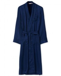 Derek Rose Pure Silk Striped Dressing Gown Navy men S Blå