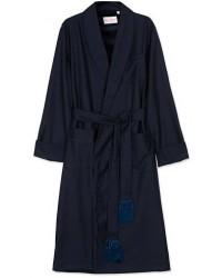 Derek Rose Pure Wool Dressing Gown Navy men S Blå