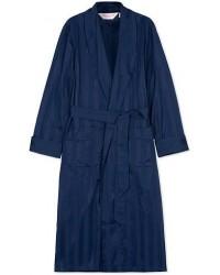 Derek Rose Striped Cotton Satin Dressing Gown Navy/Navy men L Blå