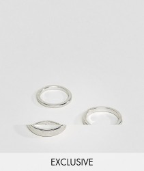 DesignB Brushed Silver Band Rings In 3 Pack Exclusive To ASOS - Silver