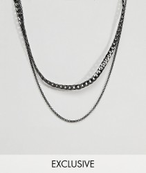 DesignB Gunmetal Chain Necklace In 2 Pack Exclusive To ASOS - Silver