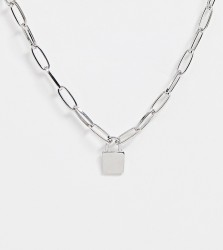 DesignB London chunky lock pendant necklace - Silver