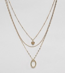 DesignB London gold heart & circle multirow pendant necklace - Gold