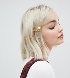 DesignB London gold & pearl chain hair slides - Gold