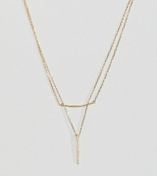 DesignB London Gold Plated Sterling Silver CZ Bar Multi-Row Necklace - Gold