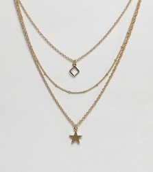DesignB London gold square & star multirow pendant necklace - Gold