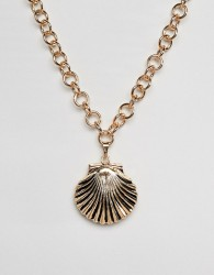 DesignB London Oversized Shell Pendant Neckace - Gold