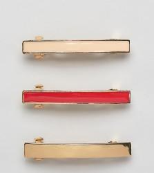 DesignB London set of 3 gold & enamel hair clips - Gold