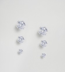 DesignB London Silver Stud Earrings In 3 Pack Exclusive To ASOS - Silver