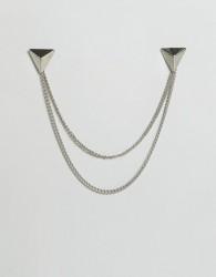 DesignB London Triangle Collar Tips & Chain In Silver - Silver