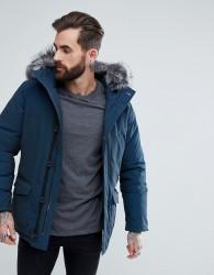 Devils Advocate Premium Parka With Faux Fur Hood Coat - Navy