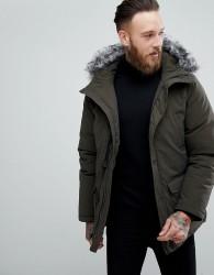 Devils Advocate Premium Parka With Japanese Faux Fur Hood Coat - Green
