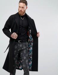 Devils Advocate Premium Wool Blend Duster Coat - Black