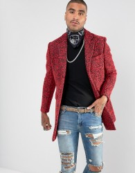 Devils Advocate Premium Wool Blend Rock Star Boucle Coat - Red
