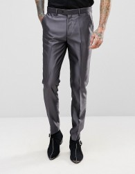 Devils Advocate Slim Fit Metallic Suit Trousers - Grey