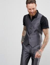 Devils Advocate Slim Fit Metallic Waistcoat - Grey