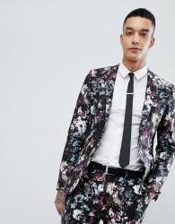 Devil's Advocate Super Skinny Fit Floral Suit Jacket - Black