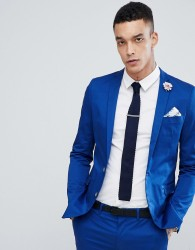 Devil's Advocate Super Skinny Fit Plain Suit Jacket - Blue