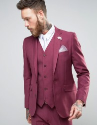 Devils Advocate Wedding Skinny Fit Burgundy Pink Suit Jacket With Flower Lapel - Pink