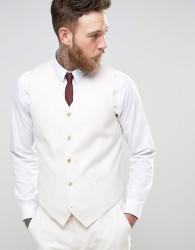 Devils Advocate Wedding Skinny Fit Cream Weave Waistcoat - Cream