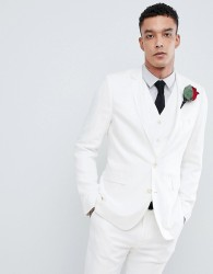 Devil's Advocate Wedding Skinny Fit Textured Suit Jacket - Cream