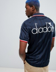 Diadora Offside retro T-shirt with taping in navy - Navy