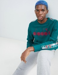 Diadora Offside sweatshirt with taping in green - Green