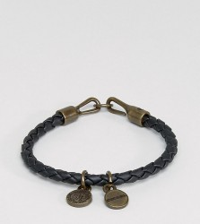 Diesel A-Santy Faux Leather Charm Bracelet In Black - Black