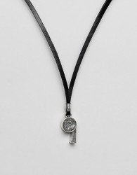 Diesel A-Stopp Necklace In Leather In Black Leather - Black