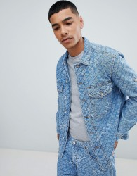 Diesel D-Late all over logo oversized denim jacket - Blue