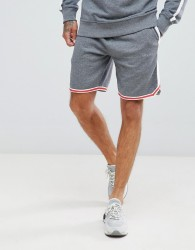 Diesel logo embroidered jersey shorts with side stripe - Grey