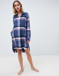 DKNY Flannel Boyfriend Pyjama Shirt - Navy