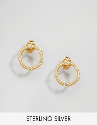Dogeared Gold Plated Infinity & One Halo Stud Earrings - Gold