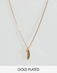Dogeared Gold Plated Light as a Feather Pendant with Sparkle Necklace - Gold