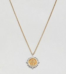 Dogeared Gold & Silver Plated Guardian Angel Medallion Necklace - Gold