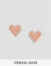 Dogeared Rose Gold Plated Heart Stud Earrings - Gold