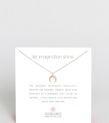 Dogeared Rose Gold Plated Let Imagination Shine Crescent Necklace - Gold