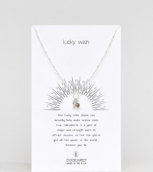 Dogeared Sterling Silver Lucky Wish! Labradorite and Teeny Wishbone Cluster Charm Necklace - Silver