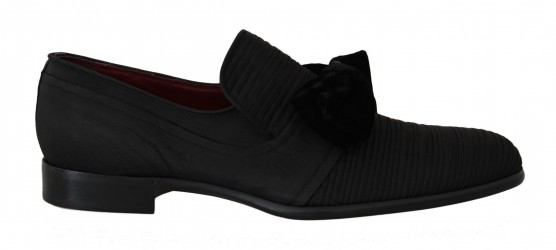 Dolce & Gabbana Black Silk Velvet Bow Dress Formal Shoes