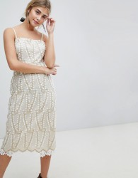 Dolly & Delicious Allover Cutwork Lace Midi Pencil Dress With Crochet Trim Detail - White