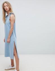 Dr Denim Maxi Denim Dress with Tie Detail - Blue