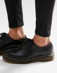 Dr Martens 1461 3-Eye Gibson Flat Shoes - Black
