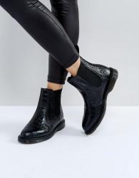 Dr Martens Kensington Flora Black Croco Chelsea Boots - Black
