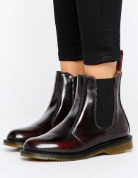 Dr Martens Kensington Flora Burgundy Chelsea Boots - Red