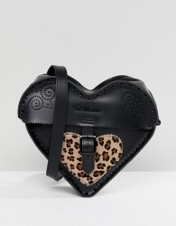 Dr Martens Leather Heart Cross Body Bag with Leopard Contrast - Black