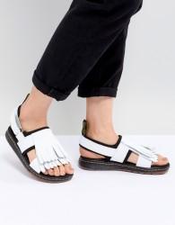 Dr Martens Rosalind Leather Flat Sandal with Tassel Detail - White