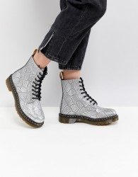 Dr Martens Vegan Silver Snake Lace up Boots - Silver