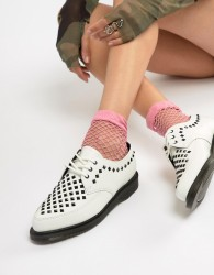Dr Martens Willis White Leather Studded Flat Shoes - White