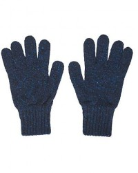 Drake's Classic Donegal Merino Gloves Navy/Red men One size Blå