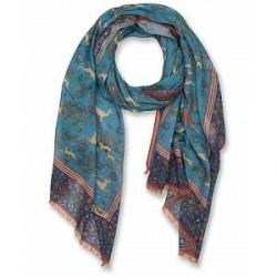 Drake's Cotton/Modal Hunting Print Scarf Light Blue